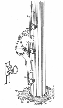 Лестница (стационарная или съемная) со ступенями и привязными ремнями безопасности