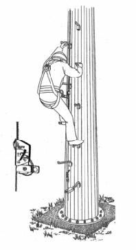 Съемные скобы-ступени и привязные ремни безопасности