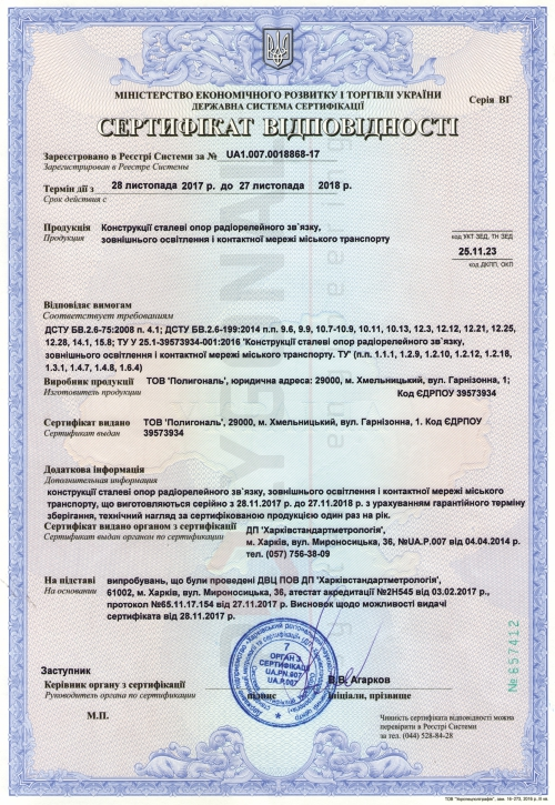 Сертификат соответствия УкрСЕПРО