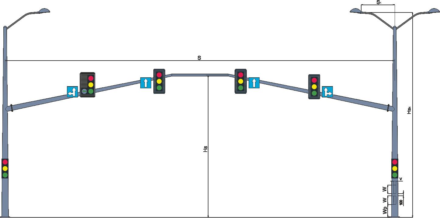 Рамні опори світлофорів комбіновані