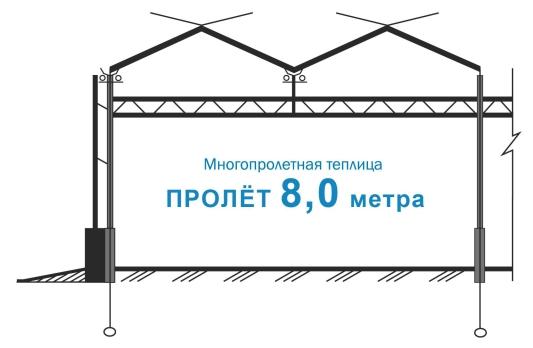Промислова теплиця прольотом 8.0 м