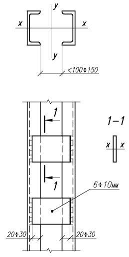 З'єднання елементів у наскрізних колонах