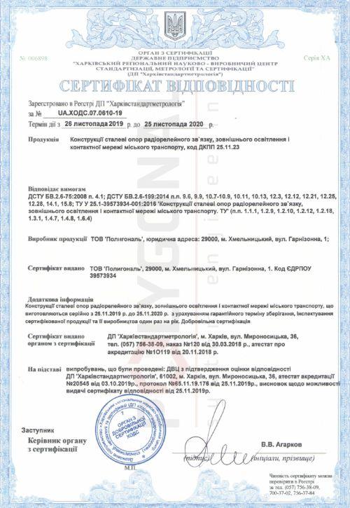 Сертификат соответствия Полигональ