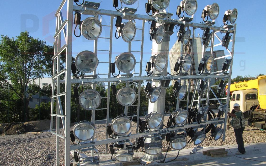 Сборка прожекторной мачты