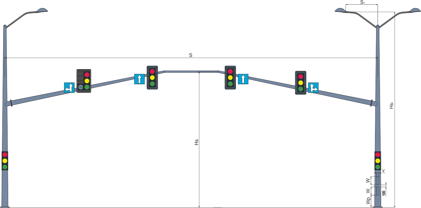 Рамные опоры светофоров комбинированные