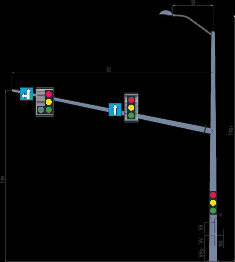 Консольные опоры светофоров комбинированные