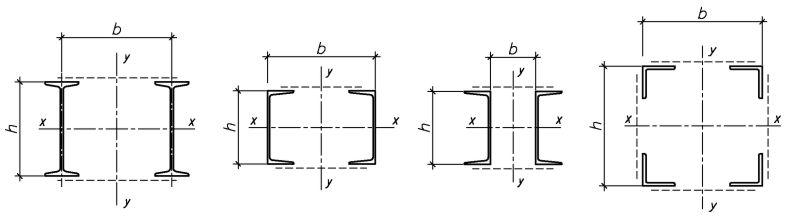 Типы сечений стержней сквозных колонн